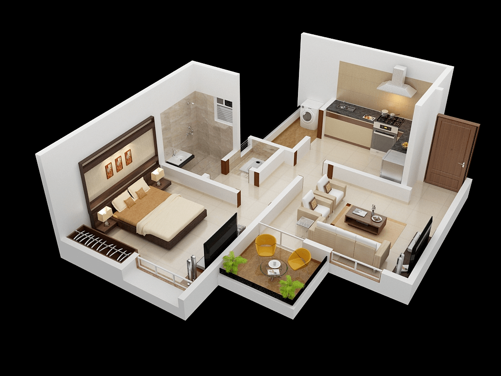 One Room Floor Plans 25 One Bedroom House Apartment Plans
