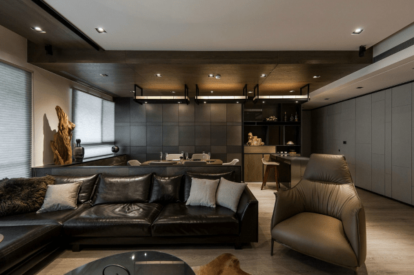Meuble Tv Gris Bois Stone And Wood Make A Dark, Masculine Interior