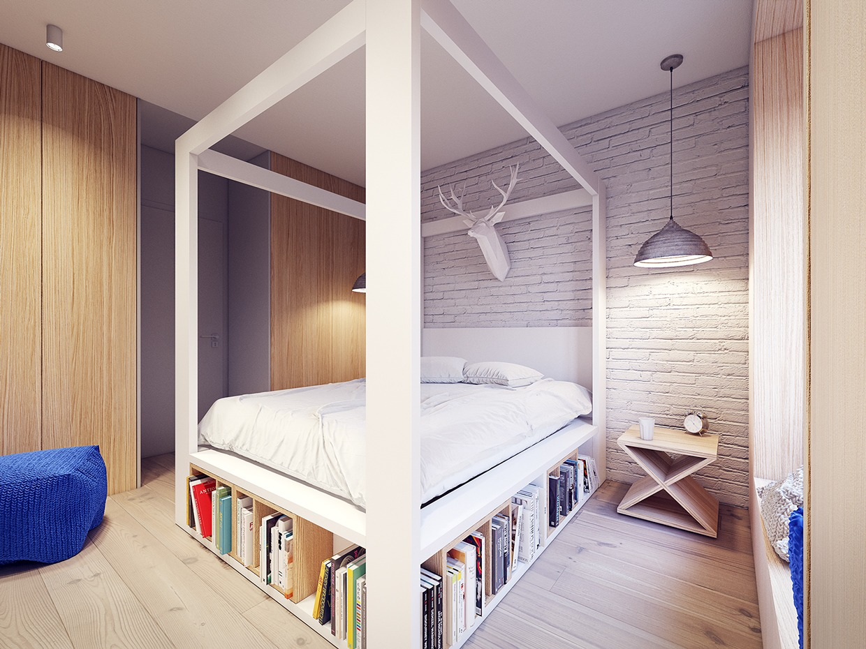 4 Post Bed White A 60s Inspired Apartment With A Creative Layout And Upbeat