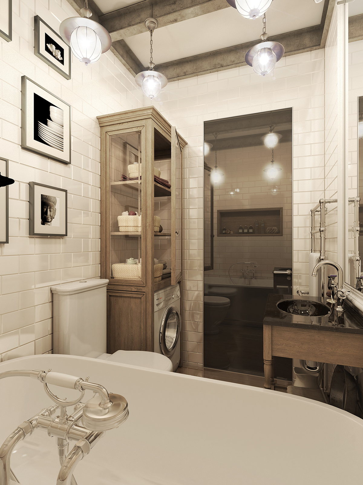Fashion Bathroom Three Dark Colored Loft Apartments With Exposed Brick Walls
