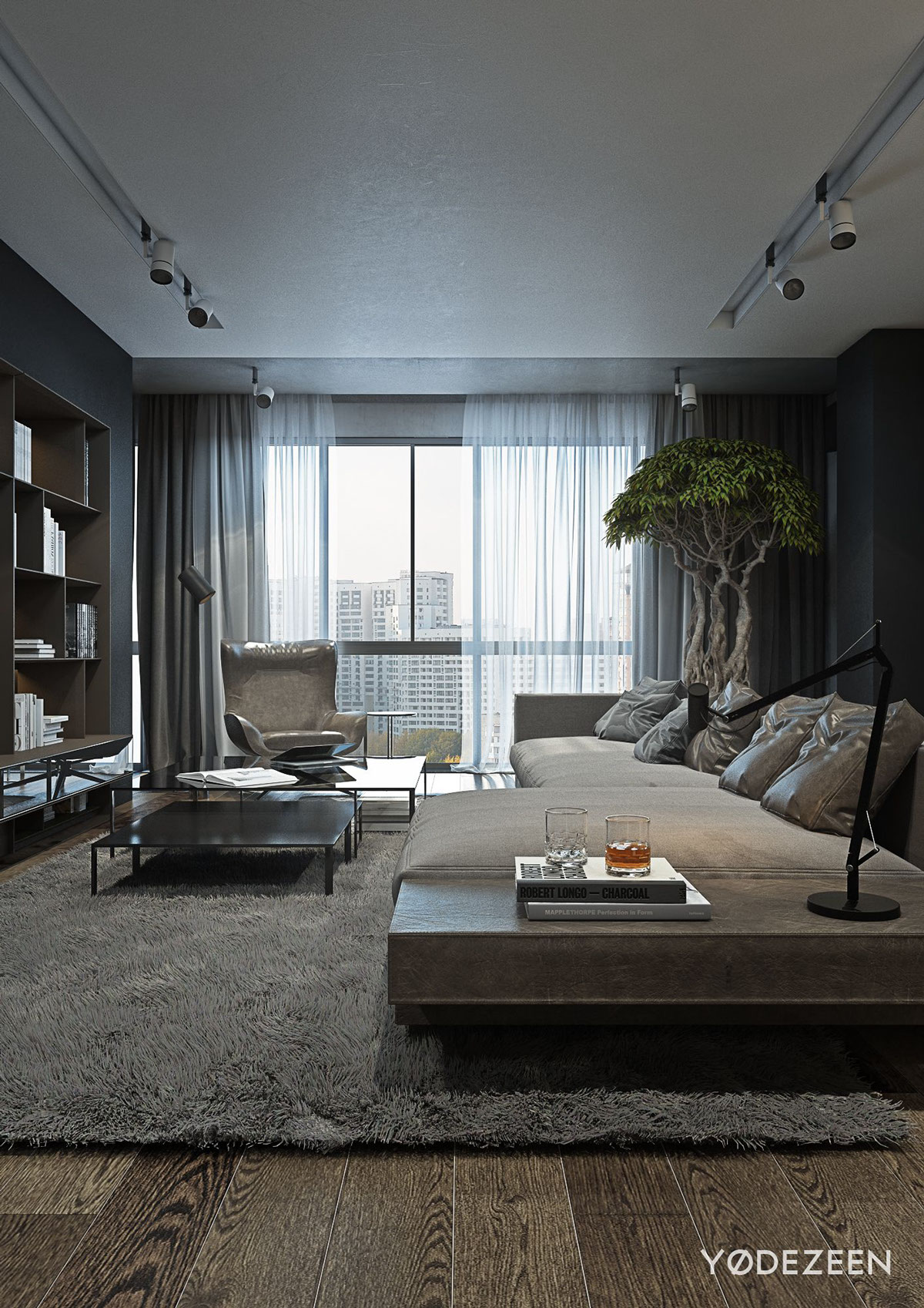 Bachelor Pad Interior Design A Dark And Calming Bachelor Bad With Natural Wood And Concrete