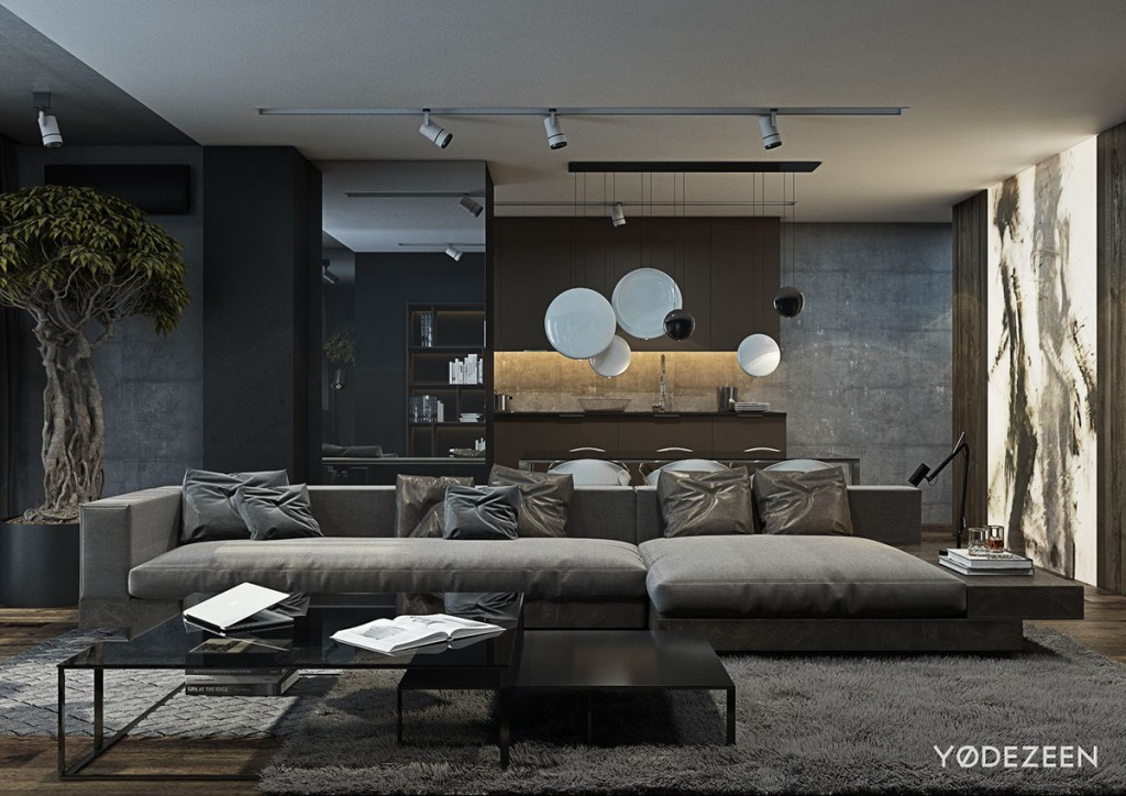 A Dark and Calming Bachelor Bad with Natural Wood and Concrete - concrete wall design example