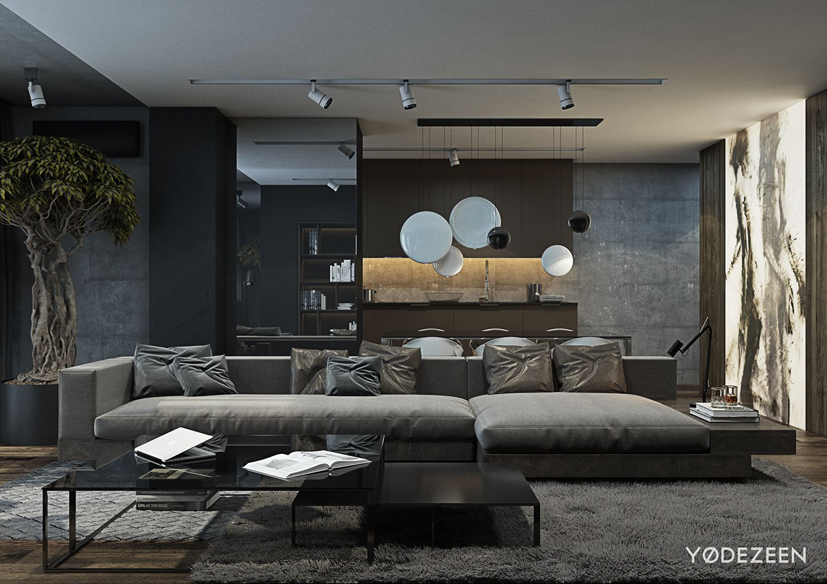 Dark Design Verlichting A Dark And Calming Bachelor Bad With Natural Wood And Concrete