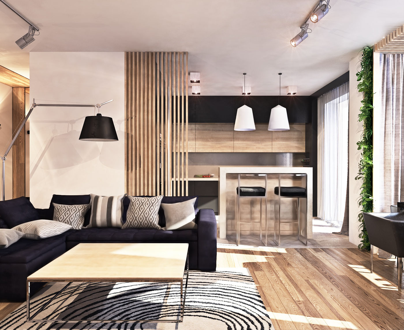 contemporary apartment lots open space functional ideas kitchen living room design