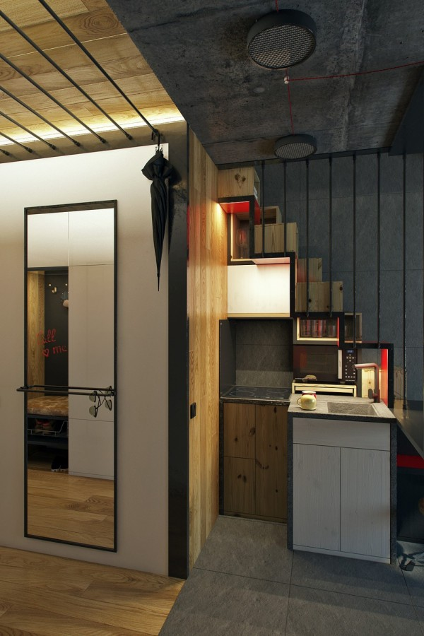 Sofa 2 Meter Micro Home Design: Super Tiny Apartment Of 18 Square Meters