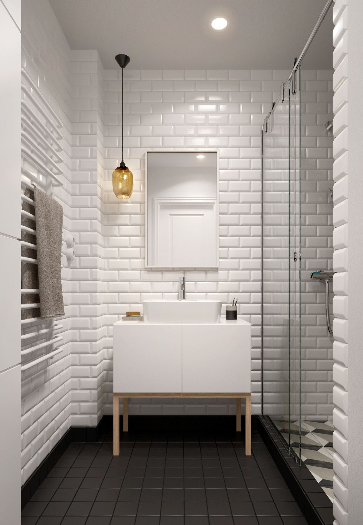Black Tiled Bathroom A Midcentury Inspired Apartment With Scandinavian Tendencies