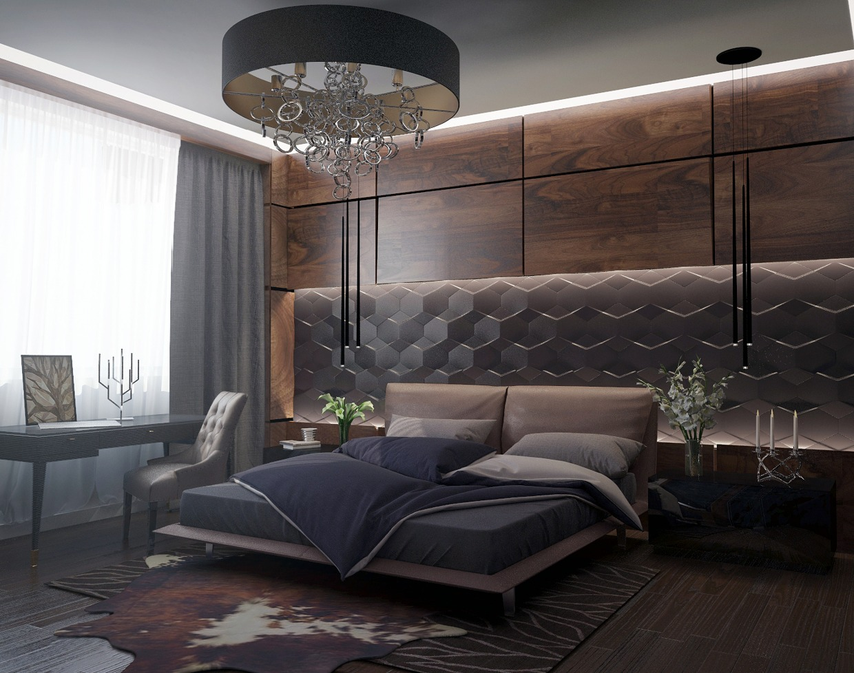 Lederwand Schlafzimmer Bedroom Walnut Wall Texture Interior Design Ideas
