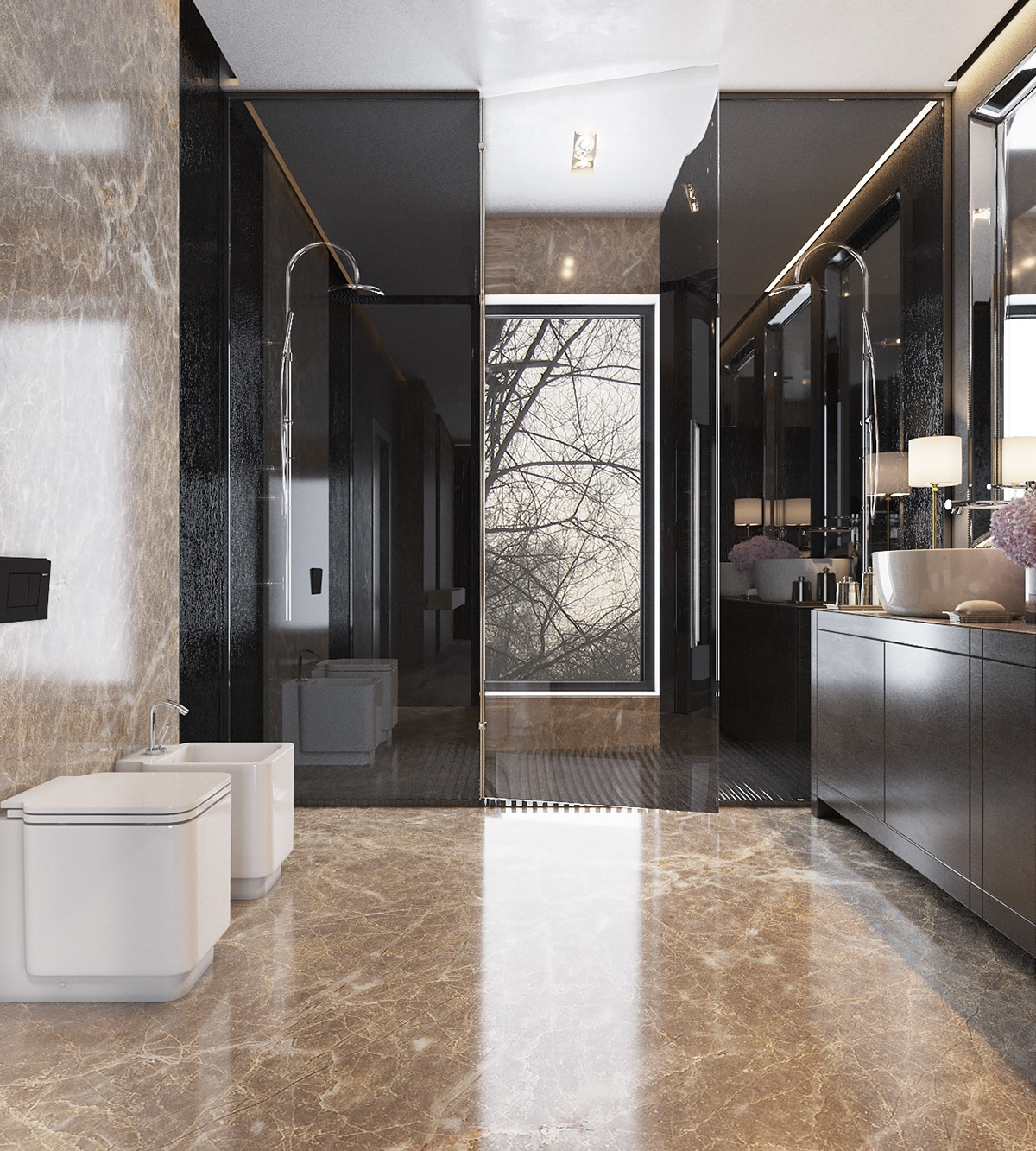 Exotic Bathrooms Three Luxurious Apartments With Dark Modern Interiors