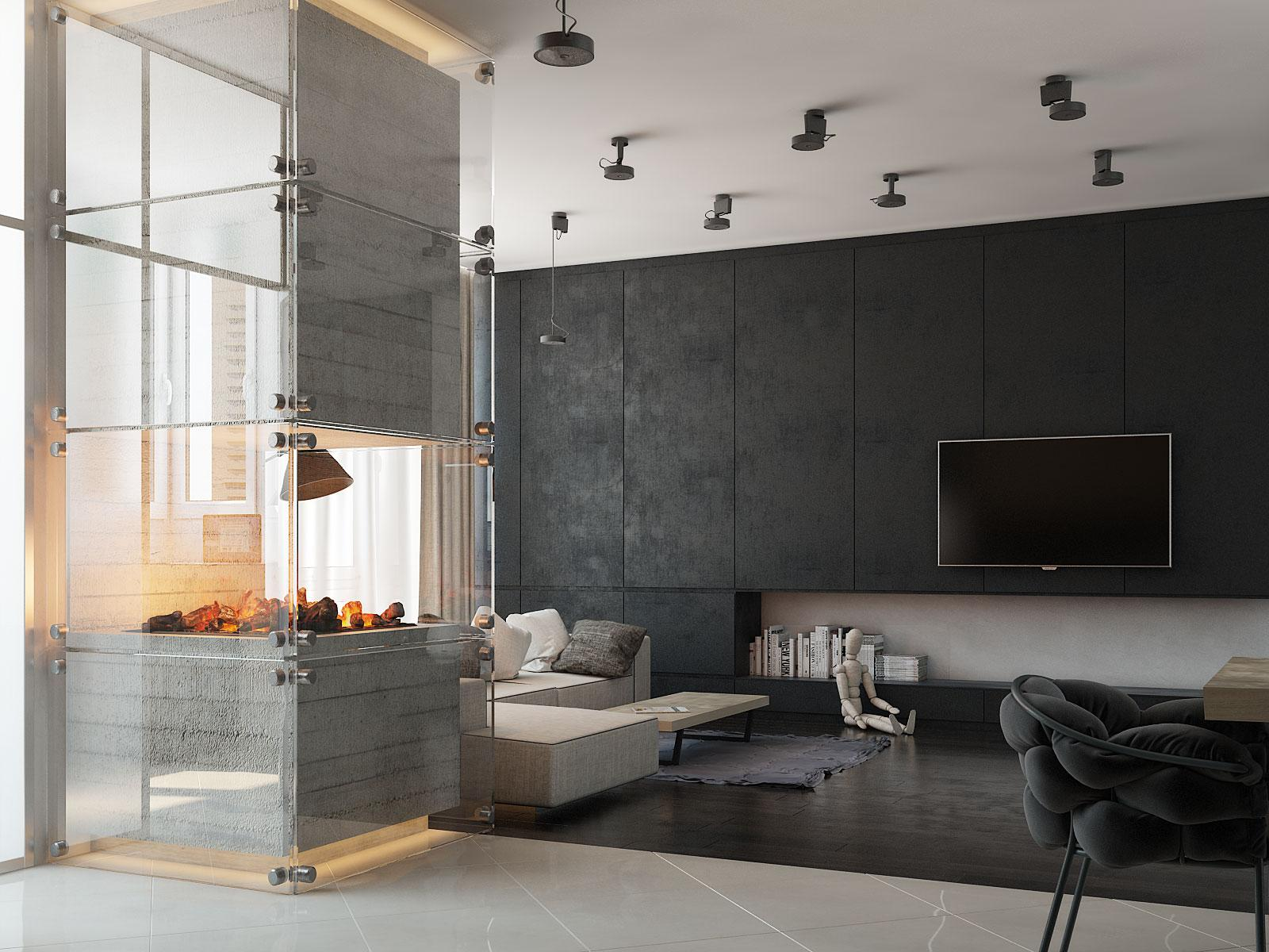 Concrete House Interior 3 Modern Homes With Amazing Fireplaces And Creative Lighting