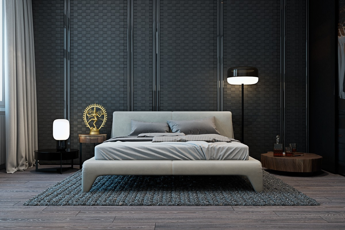 Modern Flat Bed A Modern Flat With Striking Texture And Dark Styling