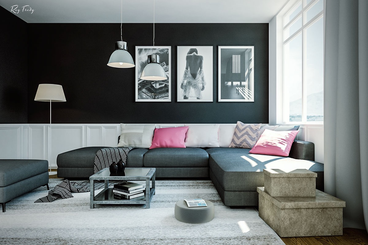 Black White And Grey Living Room Design Black Living Rooms Ideas And Inspiration