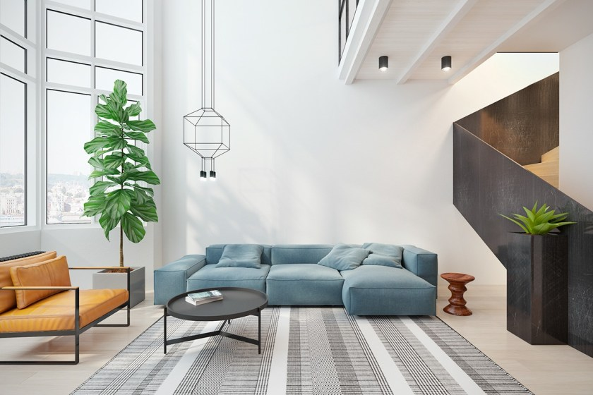 The first sight of the interior-designed living room is a unified example of how to bring several themes together in one space. Complementary orange and sky-blue tones are back-dropped by tones of living green, while a dark wood staircase adds grounding to the room. A lightly-patterned rug adds conversation between the elements. Round bauble lighting mimics the lines of the table.