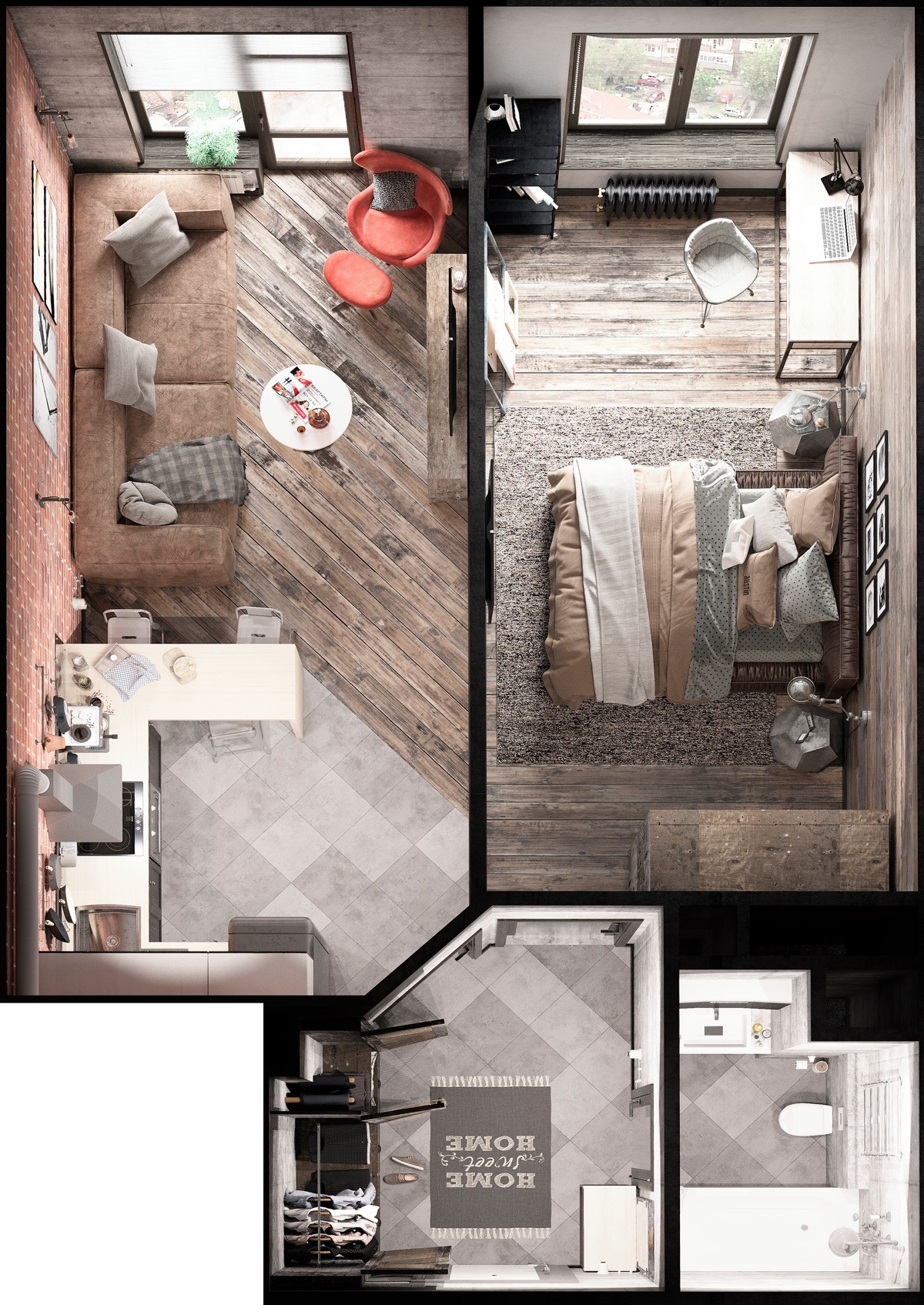 Floor Tiles Design For Small House Bold Decor In Small Spaces 3 Homes Under 50 Square Meters