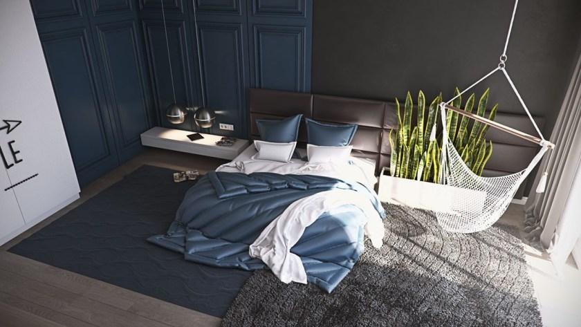 coffee-bean-coloured-headboard-turquouise-satin-bedding-bedroom