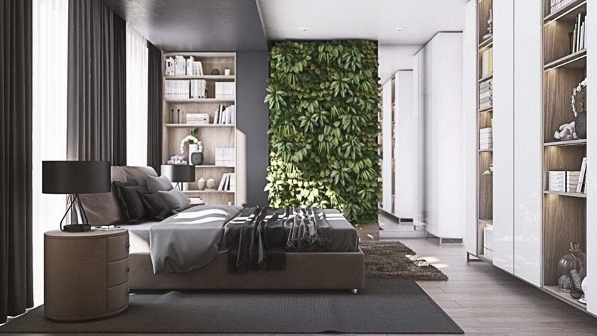 The master bedroom, wardrobe and ensuite offer a respite fit for an after-dinner soiree or pampered night at home. A living wall faces the side of the bed, joined by two cylindrical side tables and matching lamps. A walk-in wardrobe invites a place to sit and dress, while a woollen circle rug designates the place. Bonzai trees join the ensuite's marbled floor, open plan with the rest of the space, to finish off a room contemporary, stylish and sensual in feel.