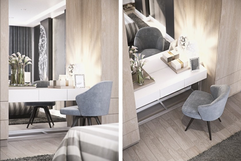 grey-velvet-chair-white-minimalist-mirror-modern-powder-room