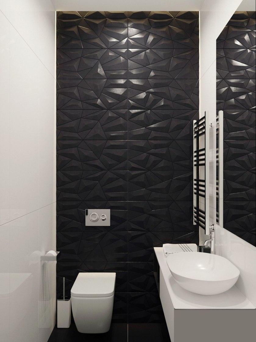 Hexagonal black feature wall texture white ceramic bathroom