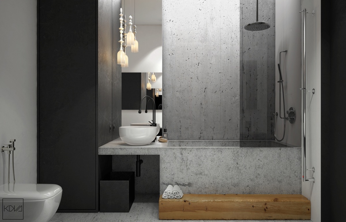 Industrial Shower 3 Minimalist Monochromatic Homes With Modern Lighting