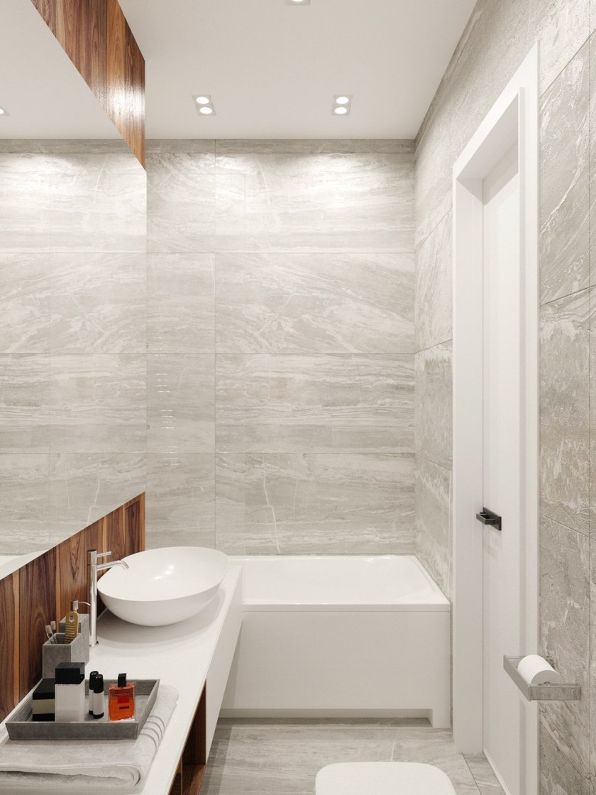 Marble-walled bathroom wooden features rustic