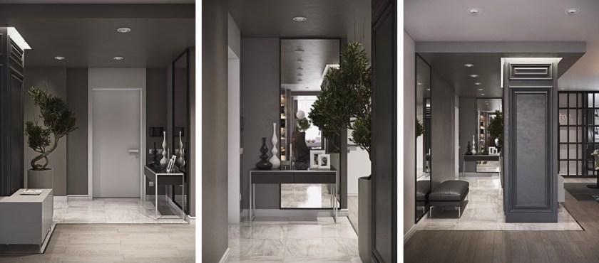 minimalist-bonzai-tree-hallway-charcoal-doors-pure-elegance
