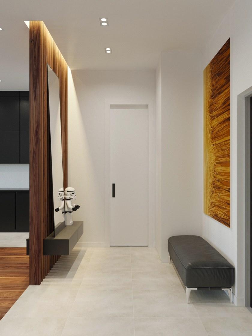 Mock wooden artwork long leather seat modern hallway