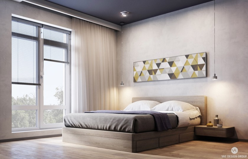 The master bedroom excels in muted hues, with a colourful art contribution above the bed. Dreamy chiffon curtains let in not-too-bright light, while muted light grey, dark grey and navy colours say sleep.