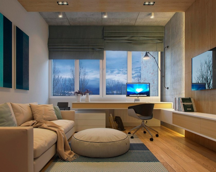 Hued in light-wood shades, couch and table elements in the study look comfortable but practical. Wood-panelled elements and concrete tiling offer the contemporary, while side-lighting adds a modern elegance. A patterned rug and vertically-painted triptych break the beige.