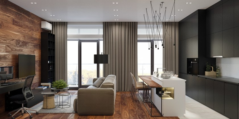 Three spaces in one beautiful wooden floor apartment with park view