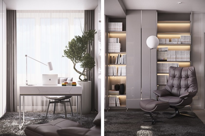 white-study-minimalistic-coffee-bean-leather-chair-white-bound-books