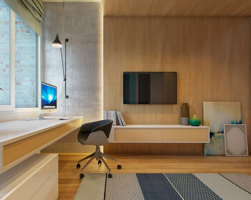 wooden-floor-and-wall-office-area-teal-and-navy-overtones