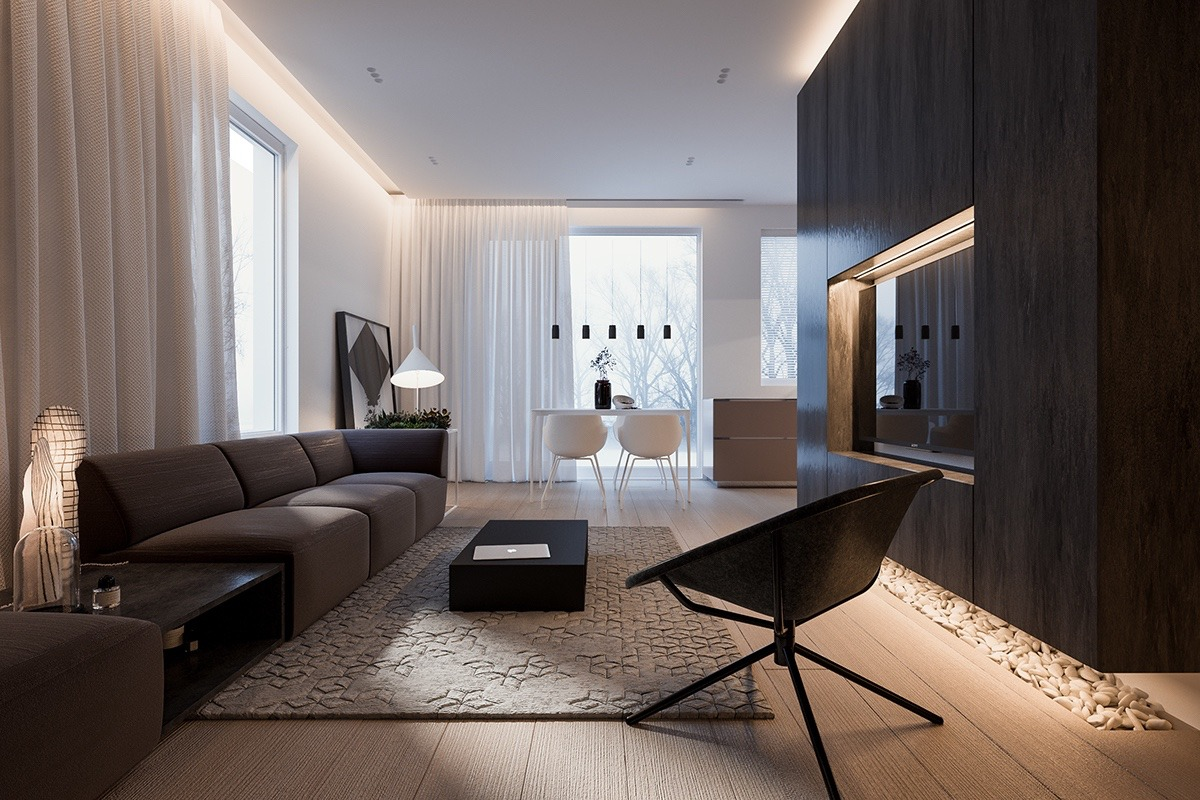 Wohnzimmer Minimalistisch A Minimalist Family Home With A Bright Bedroom For The