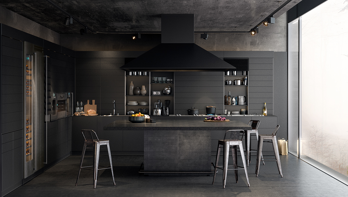 Fullsize Of Black Kitchen Walls