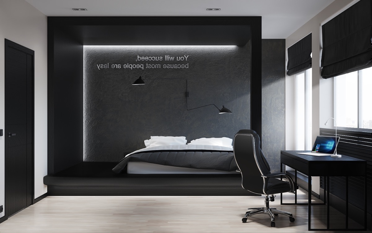 Black And White Master Bedroom Shows The Stretch Of The