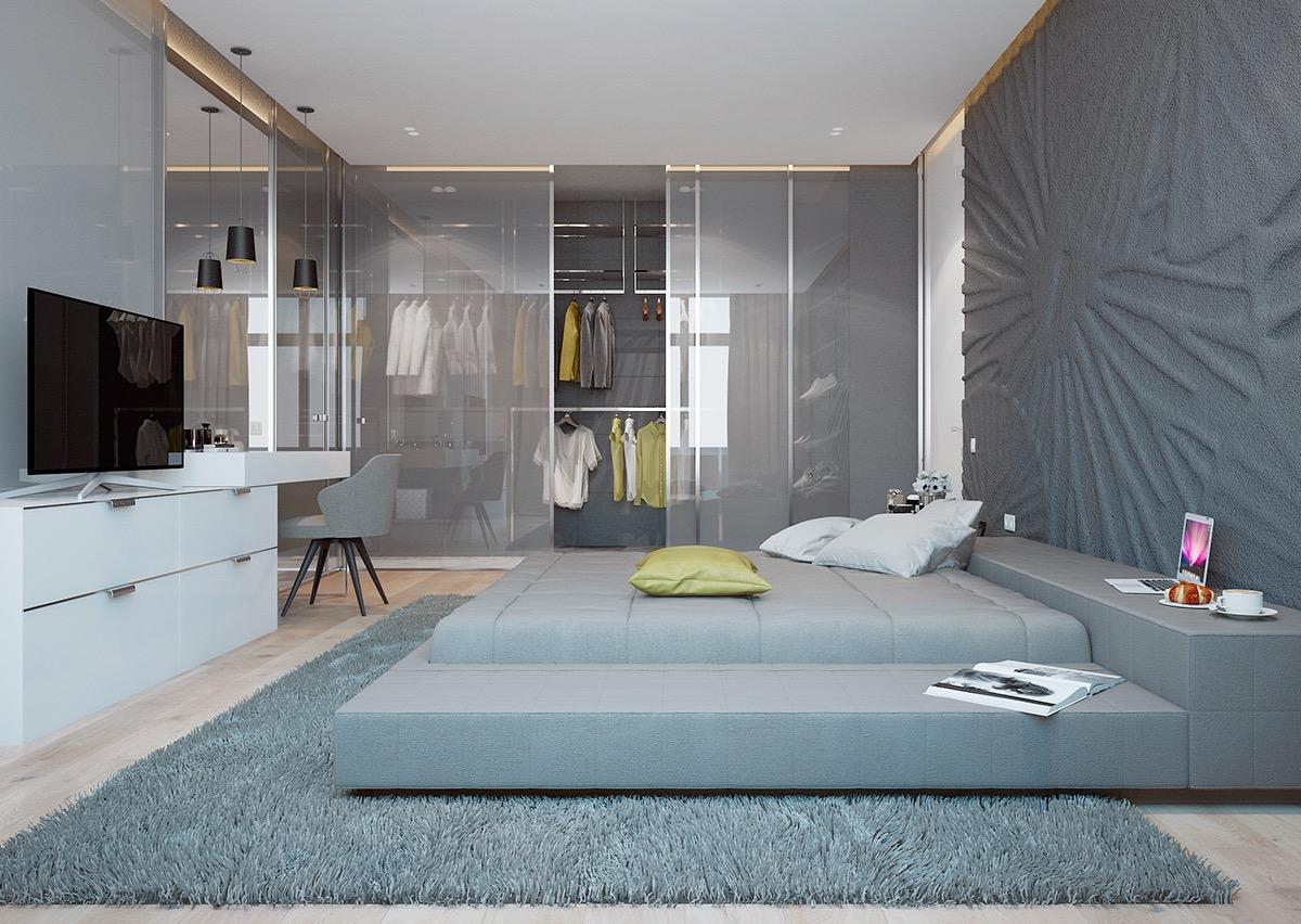 Dark Blue Grey Bedroom
