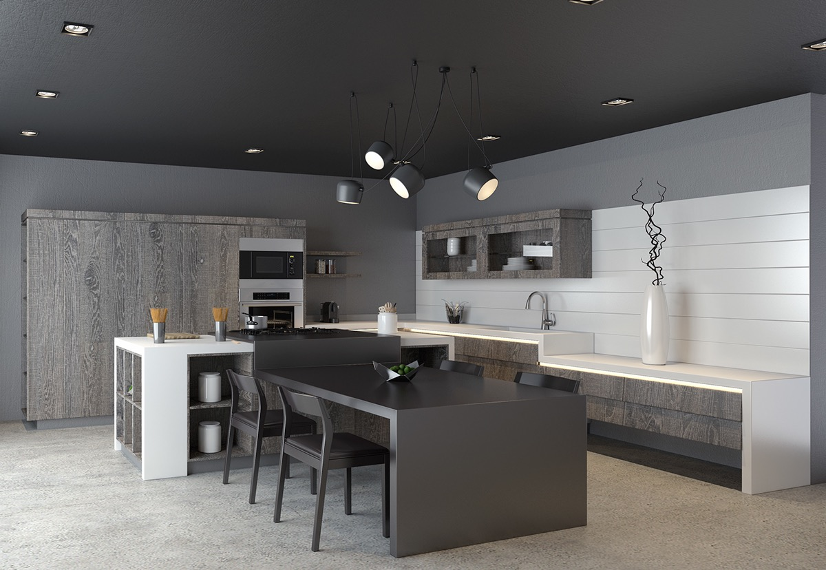 Modern Kitchen Design For Small House 40 Beautiful Black White Kitchen Designs