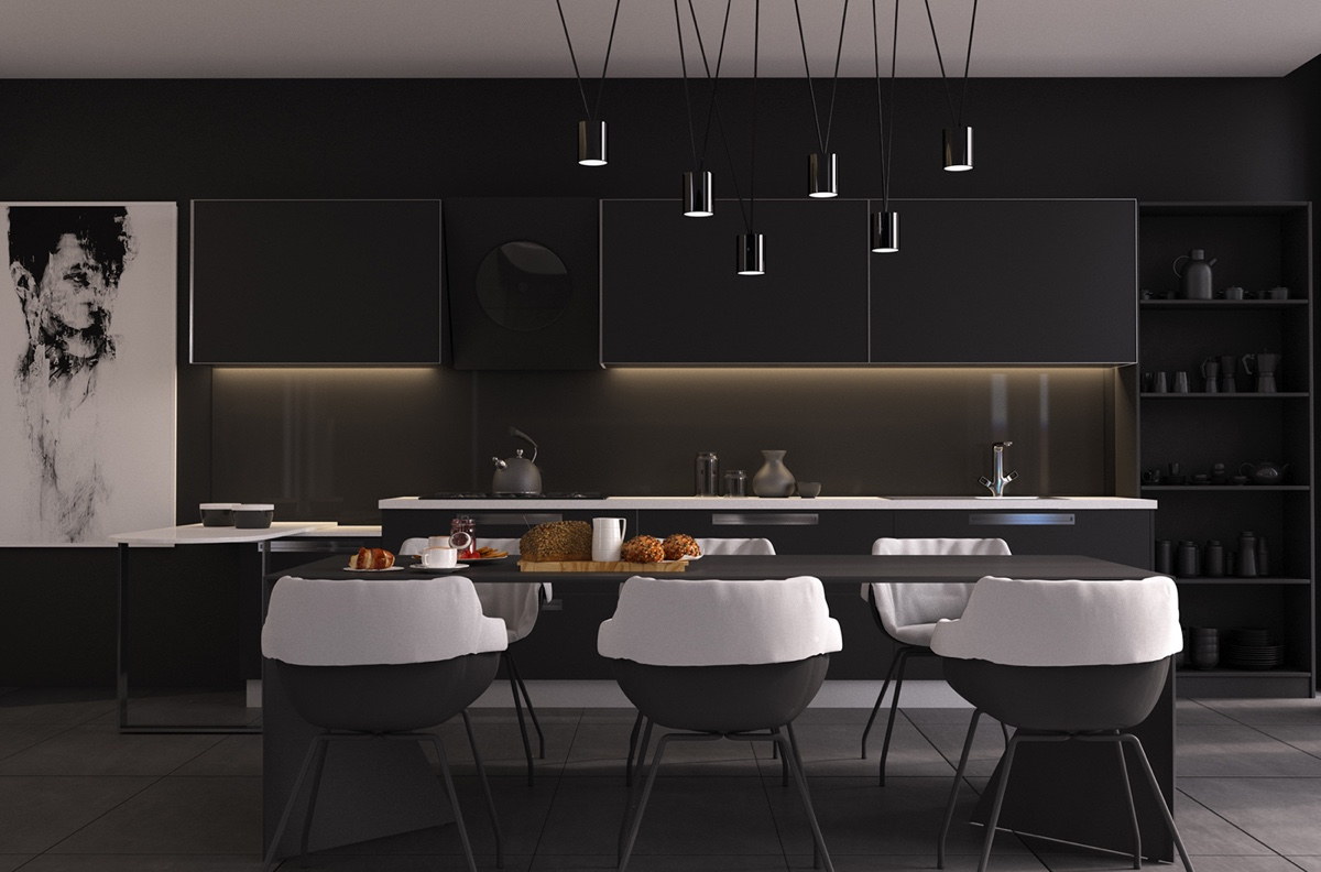 Dining Room Black And White 4 Gorgeous Homes With Matte Black Walls