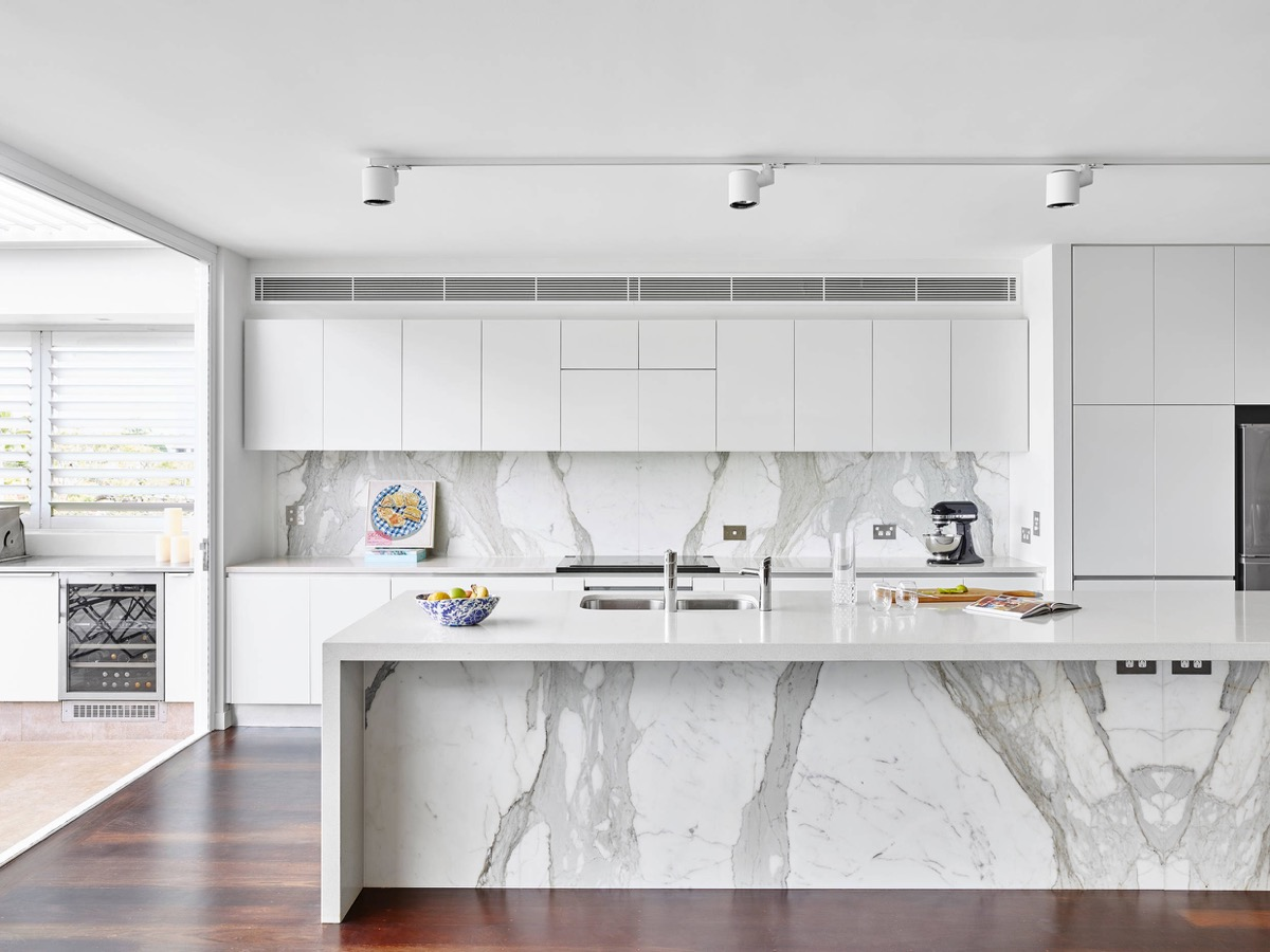 White Marble Island 30 Gorgeous Grey And White Kitchens That Get Their Mix Right
