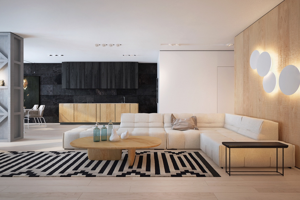 Style Contemporain Black, White And Wood: Two Masterclass Examples Of