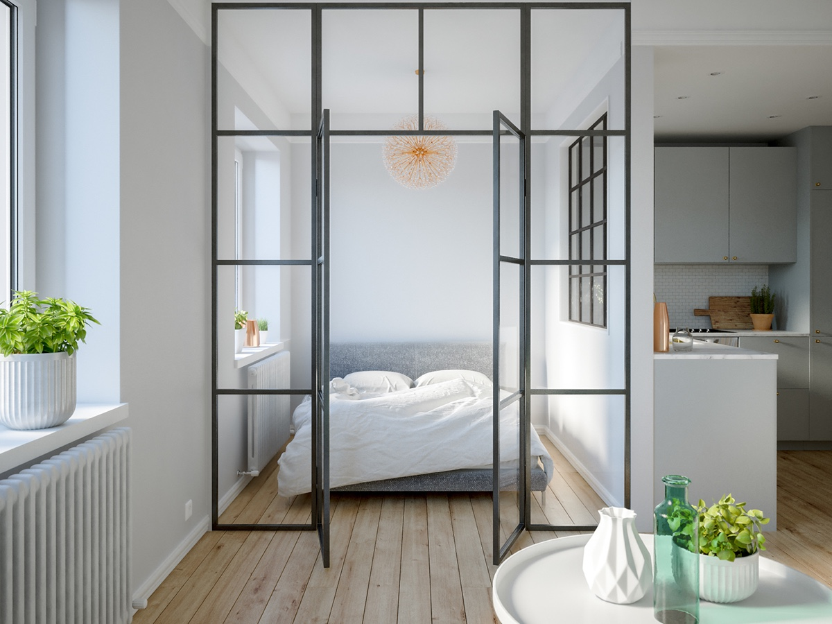 Studio Bed Divider 3 Modern Studio Apartments With Glass Walled Bedrooms