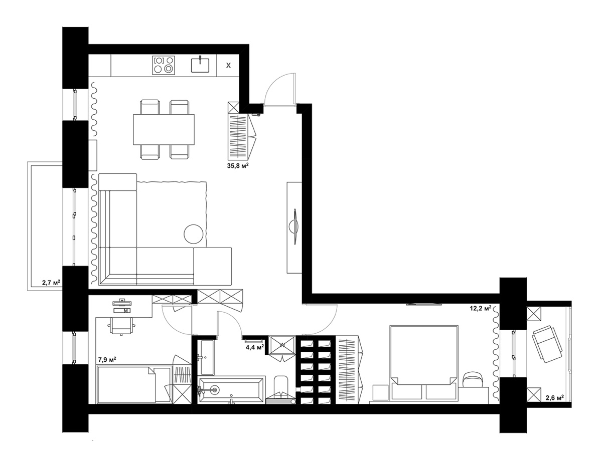 Housing Floor Plans Layout Double Bedroom L Shaped Home Design 2 Examples With Floor