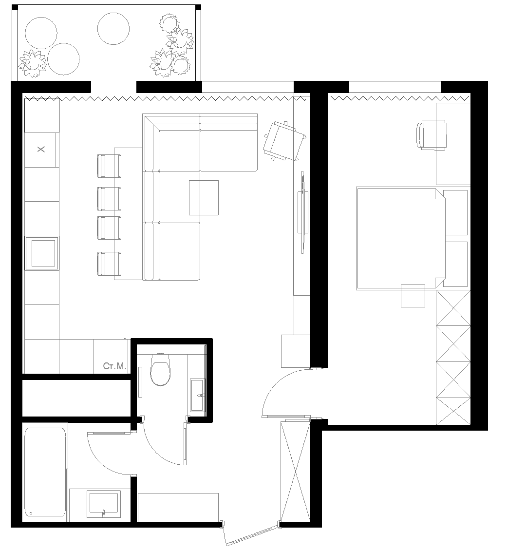 One Room Floor Plans 3 One Bedroom Apartments With Floor Plans