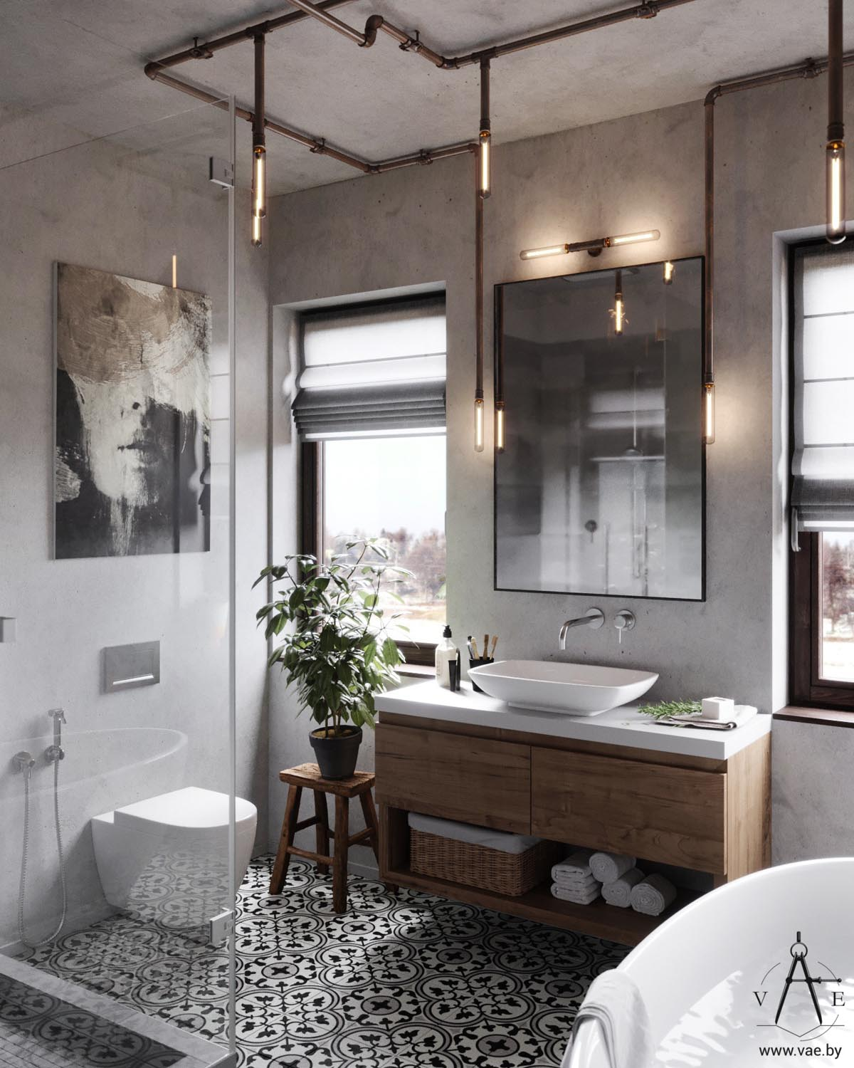 Industrial Style Bathroom Lights Warm Industrial Style House With Layout