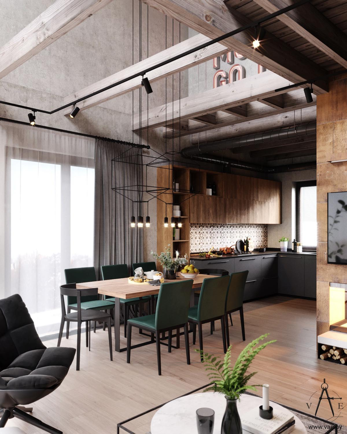 Industrial Style Warm Industrial Style House With Layout