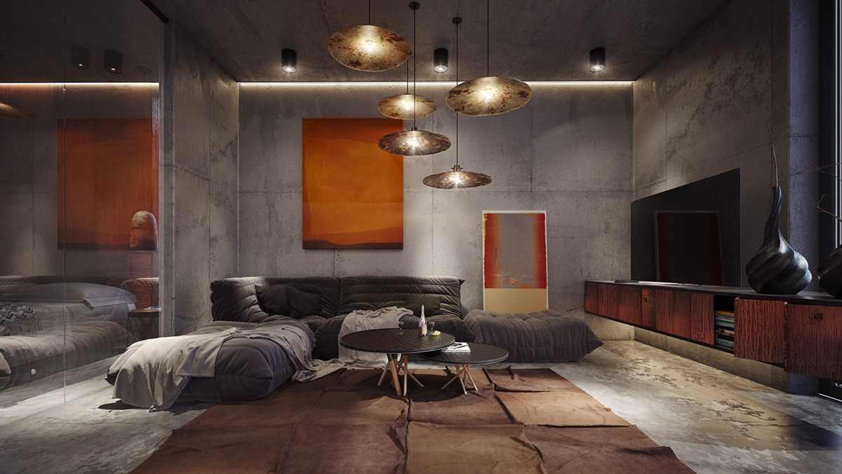 Concrete Rooms 40 Stylish Living Rooms That Use Concrete To Stand Out
