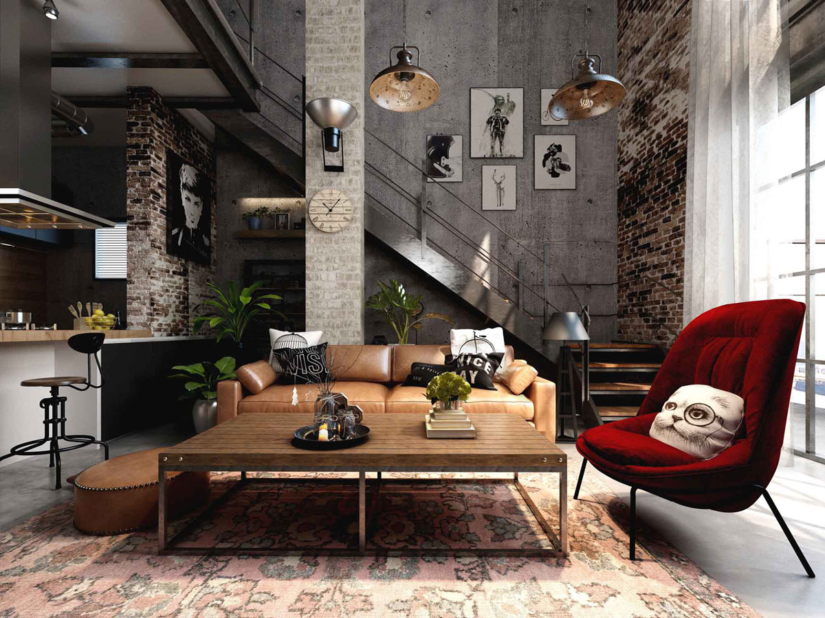 Home Interior Wall Decorations Rich Industrial Style Unites Jewel Colours With Exposed