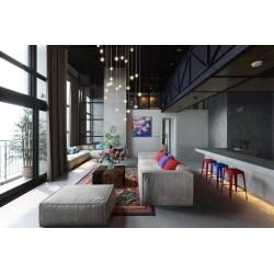 Endearing Flying Pendant Lights Colourful Stools Kitsch Living Room Interior Design Living Room interior Modern Interior Design Living Room