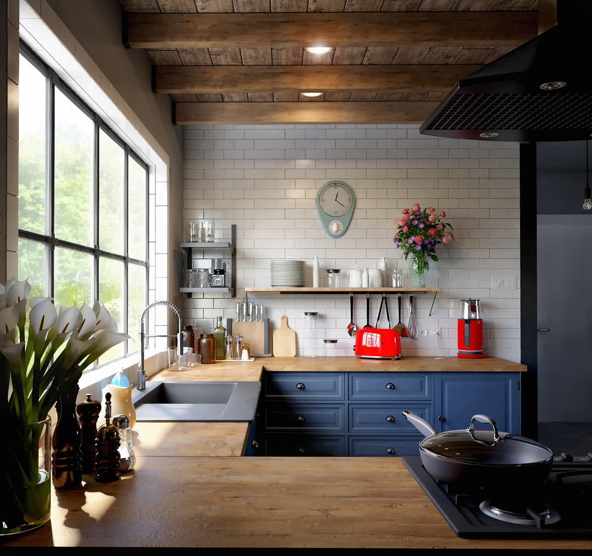 Blue Kitchen Clock 30 Beautiful Blue Kitchens To Brighten Your Day