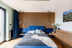 Rousing Potted Peonies Buoyant Blue Bedrooms That Add Tranquility This Bedroom Stretches M Over A Wall To Your Side As Blue Takescentre Surrounding A Landscape Canvas