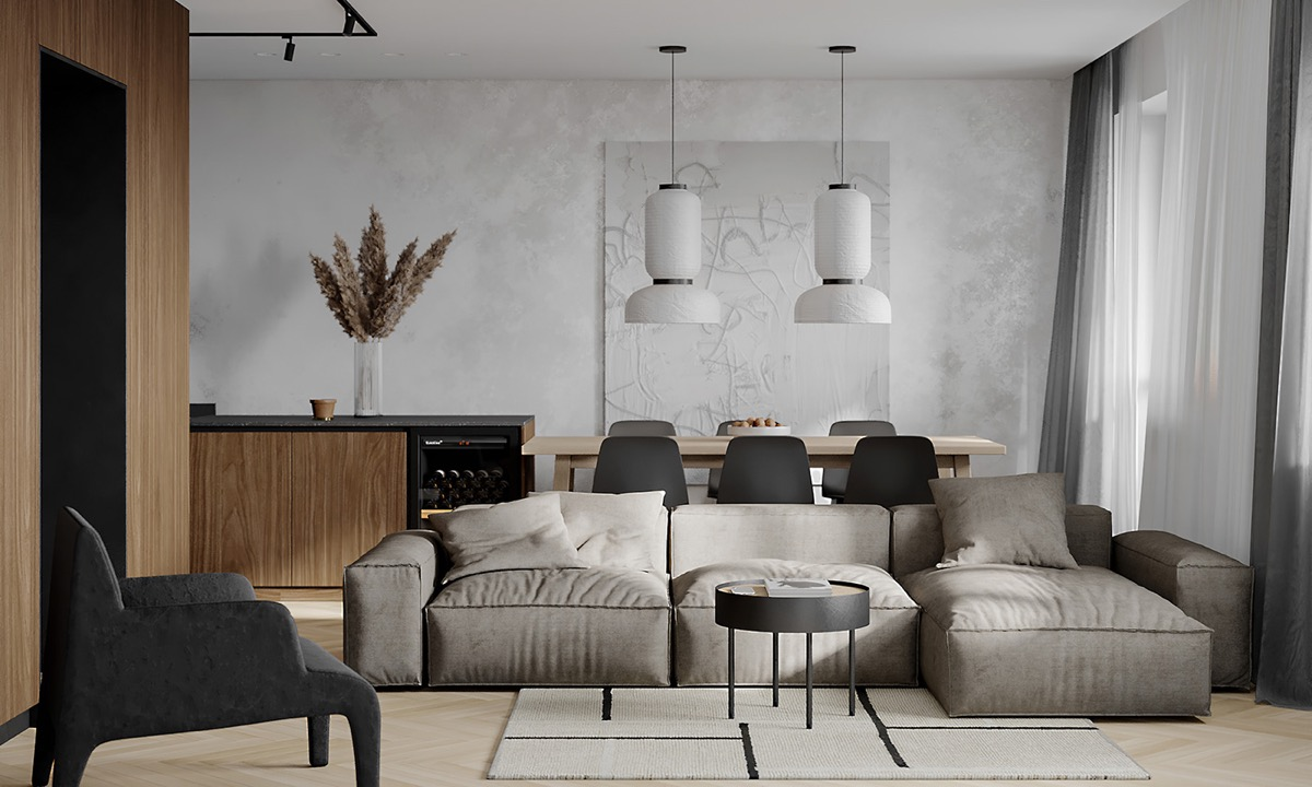 Classy Charcoal Brown Apartment Interior Under 80 Sqm With Layout