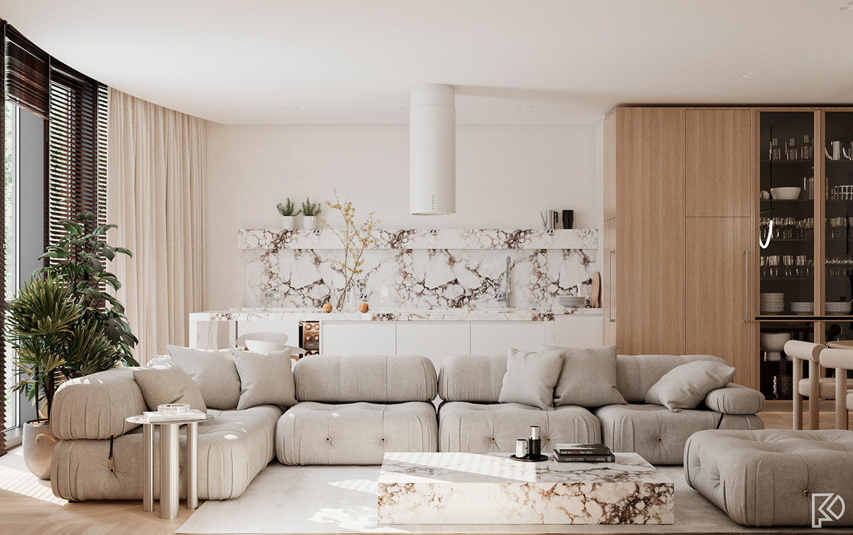 Light And Cosy Minimalist Moods With White Marble Wood Accents